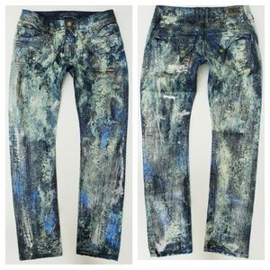 New ROBIN'S JEAN sz 33 Slim Straight Coated Jeans